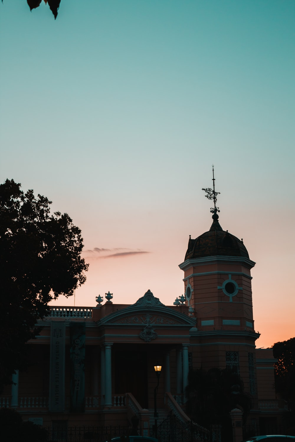 pink and brown domed building