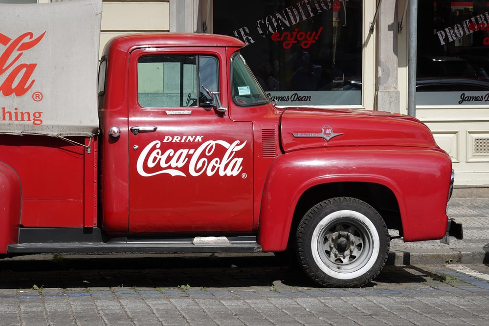 Coca-Cola truck park at the street