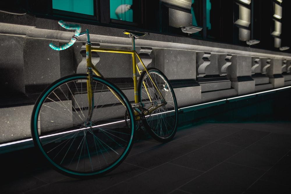 blue and yellow road bike
