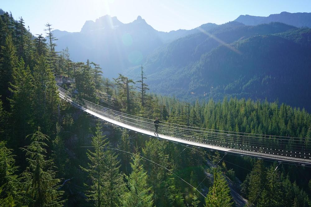 man on hanging bridge