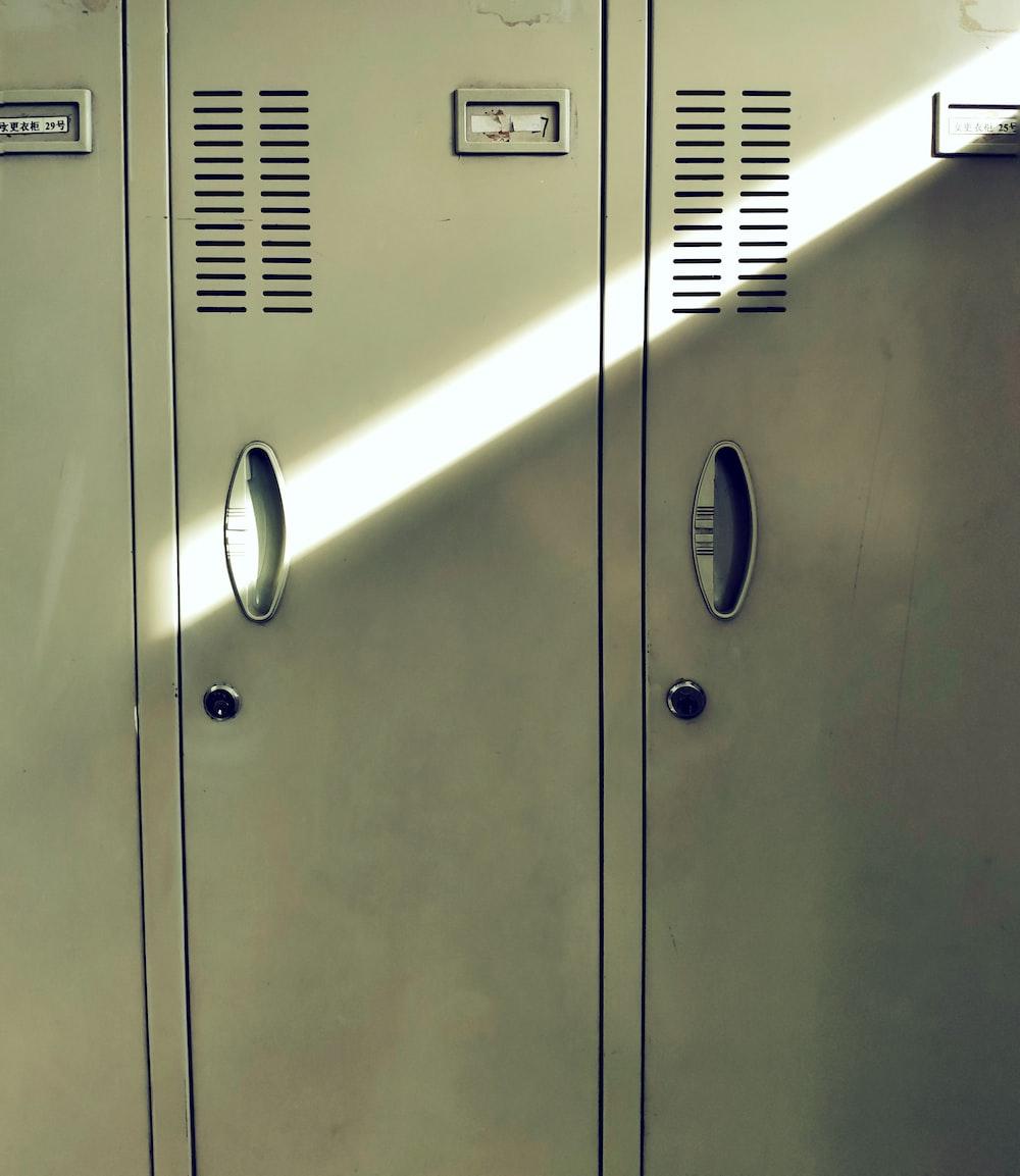 two green metal door