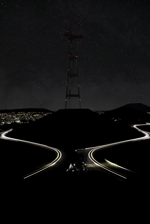 satellite tower during nighttime