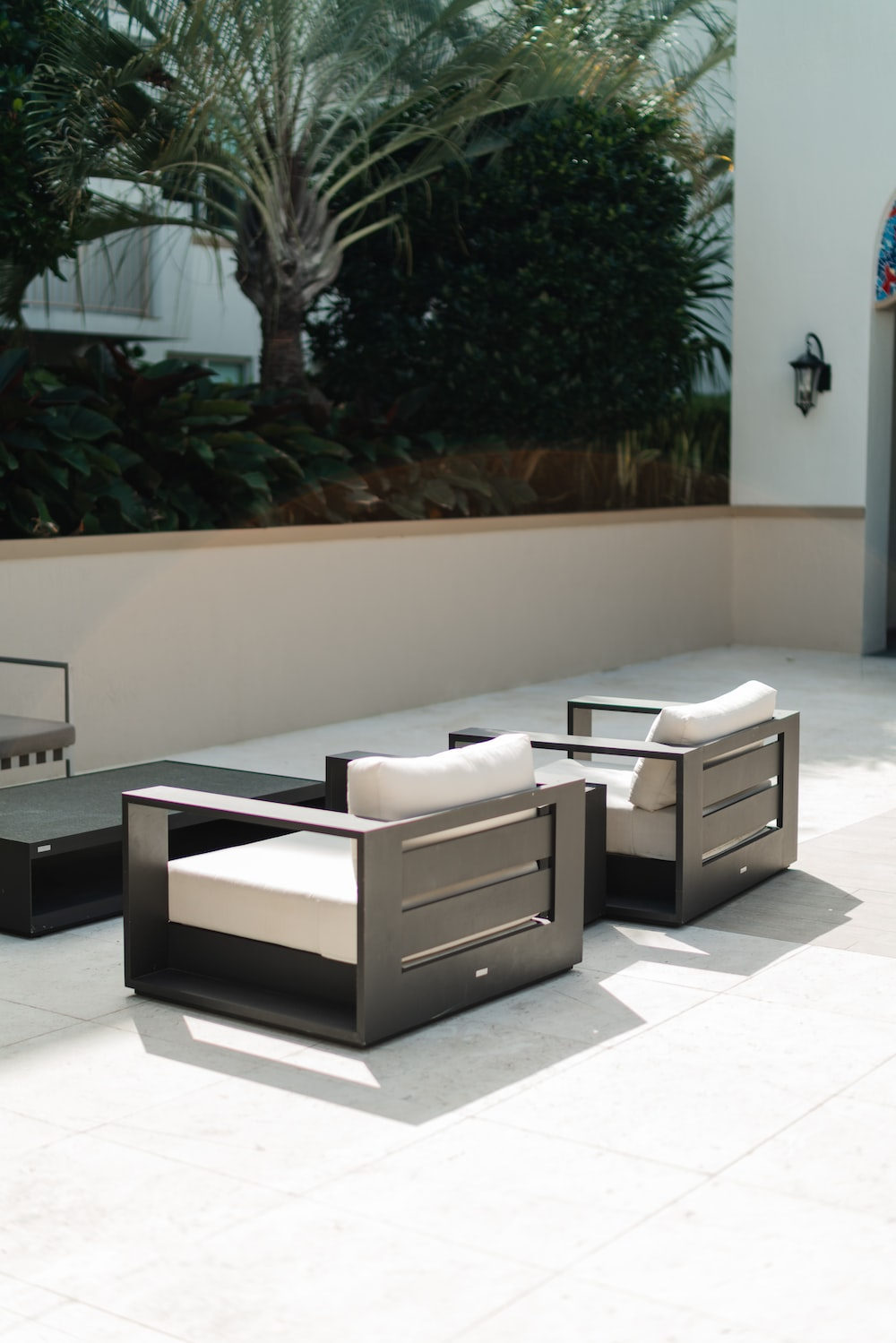 two black-and-white armchairs
