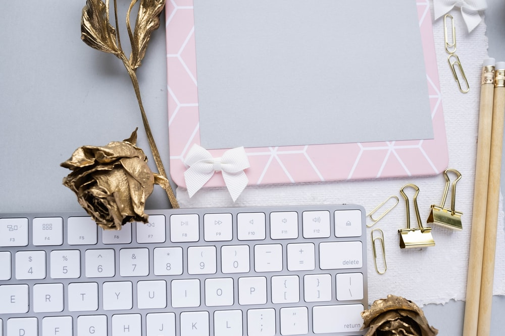 wireless keyboard with gold roses