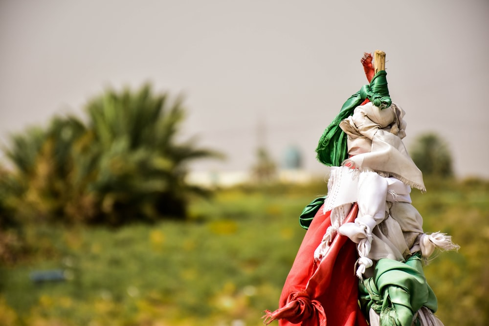 white, red, and green textiles