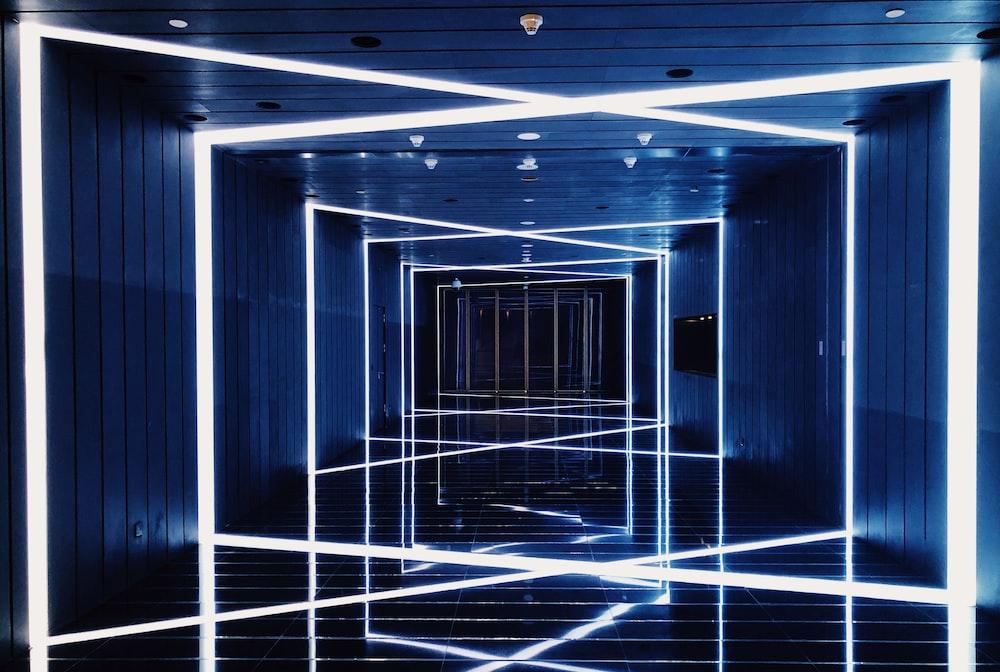 hallway with LED lights