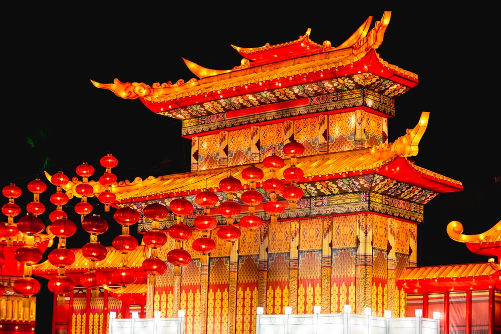 Chinese architecture with lanterns