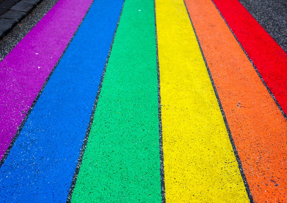 multicolored stripe painted surface
