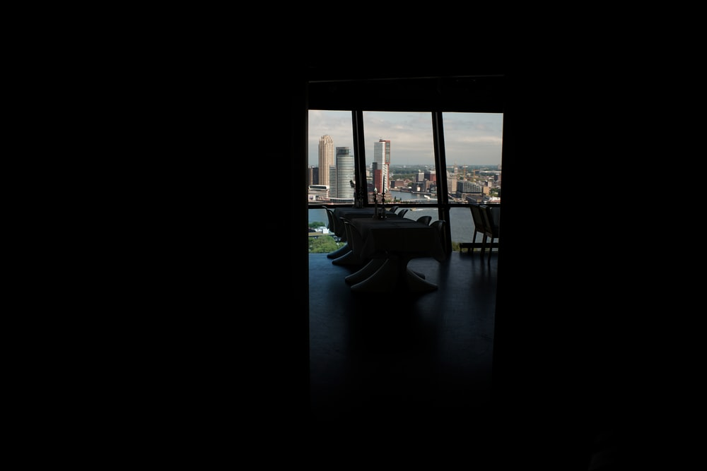 table at darkroom overlooking the city