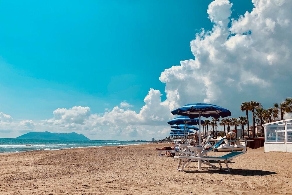 empty lounger on beach