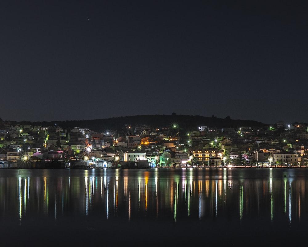 landscape photo of a village skyline at night