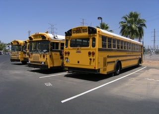 three parked yellow busses