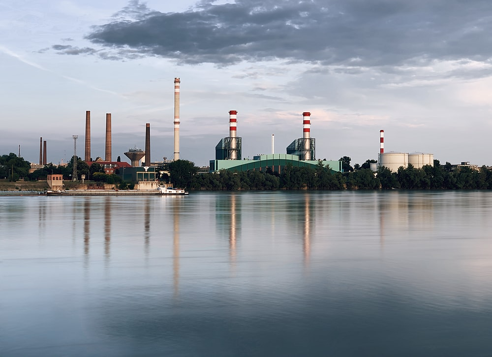 industrial buildings across river