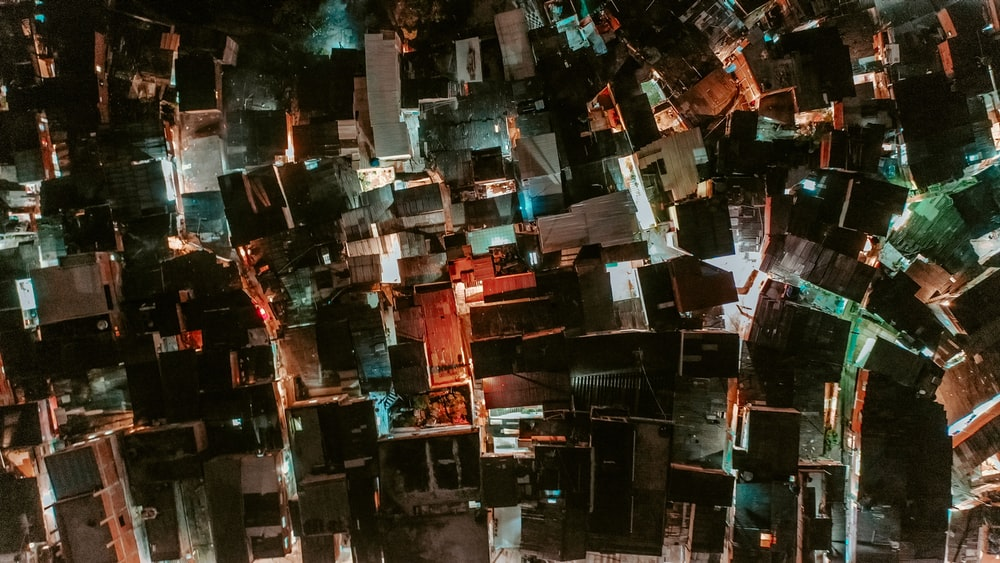 aerial photography of lighted houses