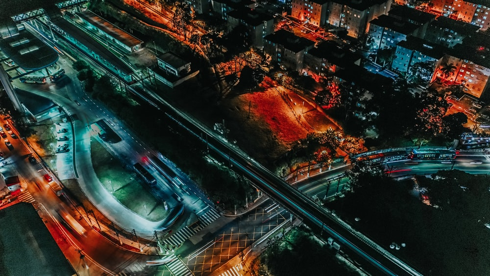 aerial photography of city and road during nighttime