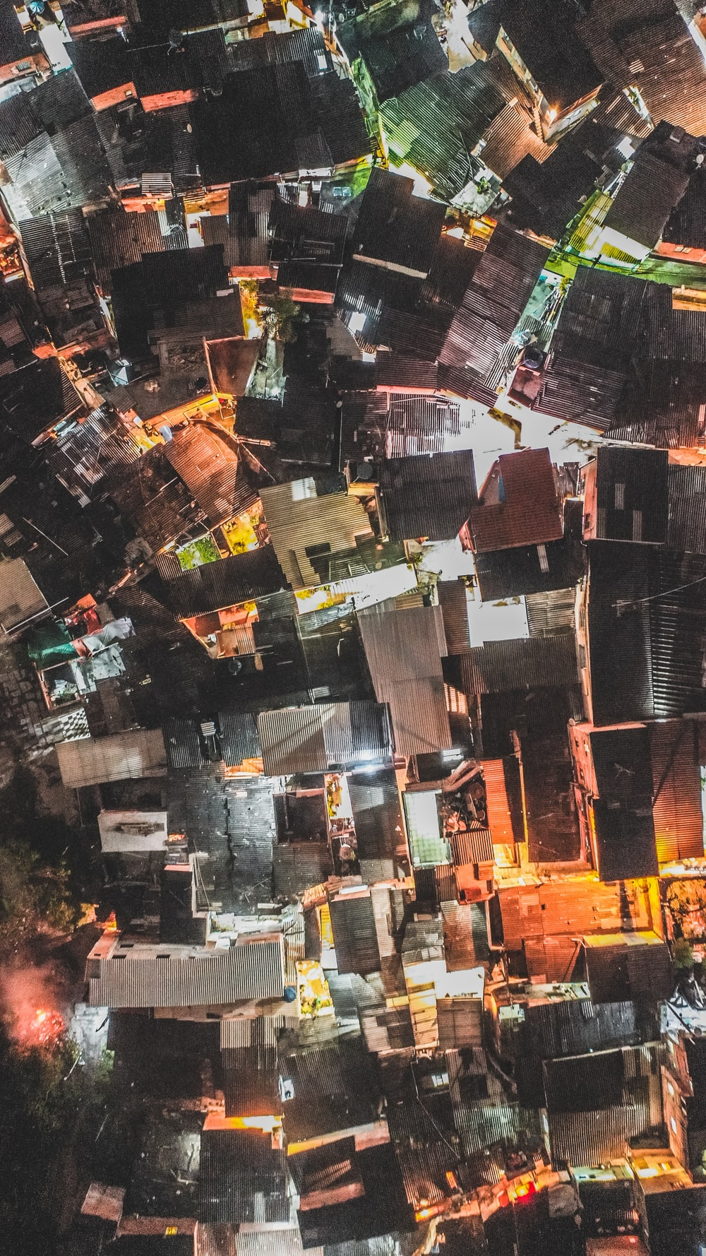 aerial photography of building at night