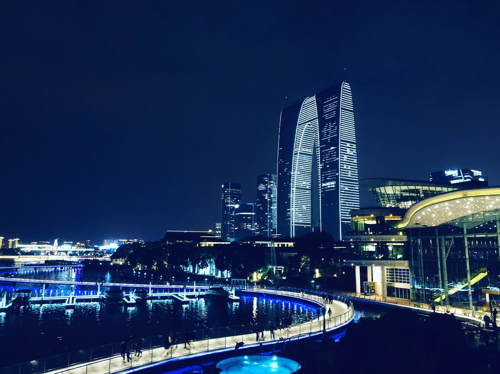 architectural photography of lighted buildings