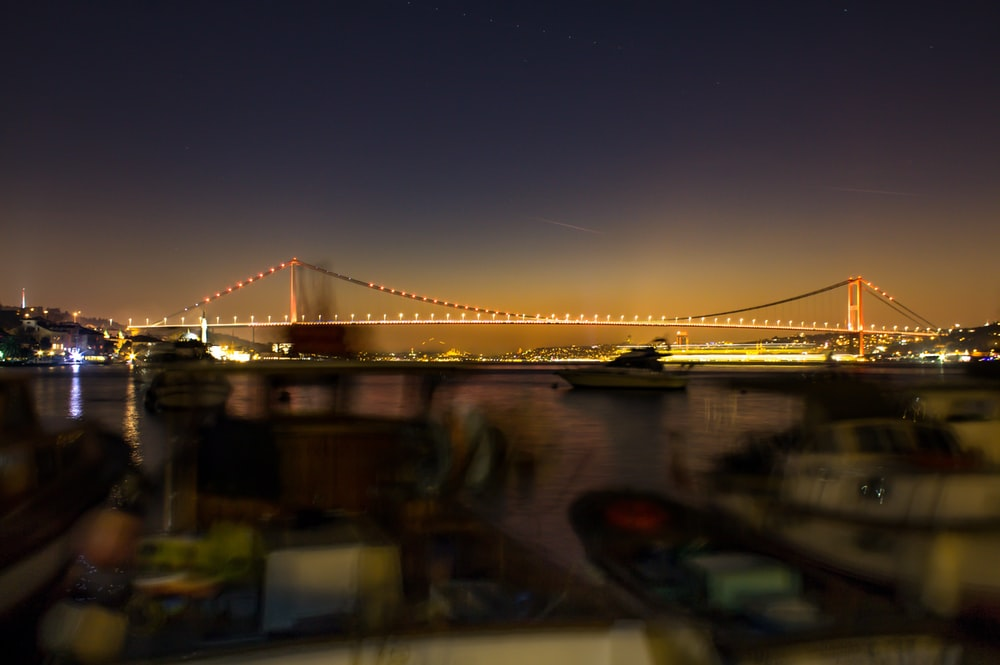 lighted bridge during nighttime