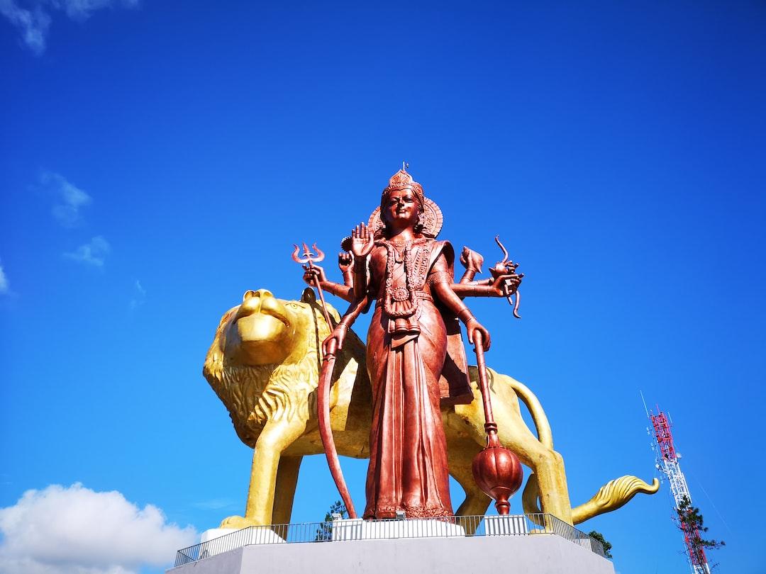 The Giant Goddess Durga Statue in Ganga Talao, Mauritius