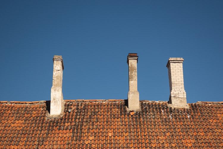 chimney on brick roof