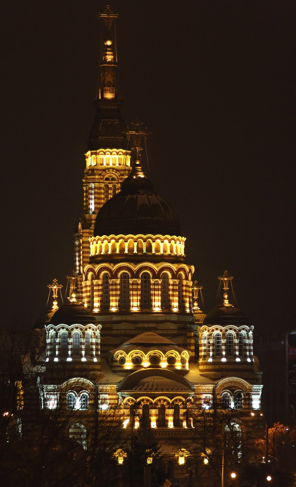 gold building during nighttime