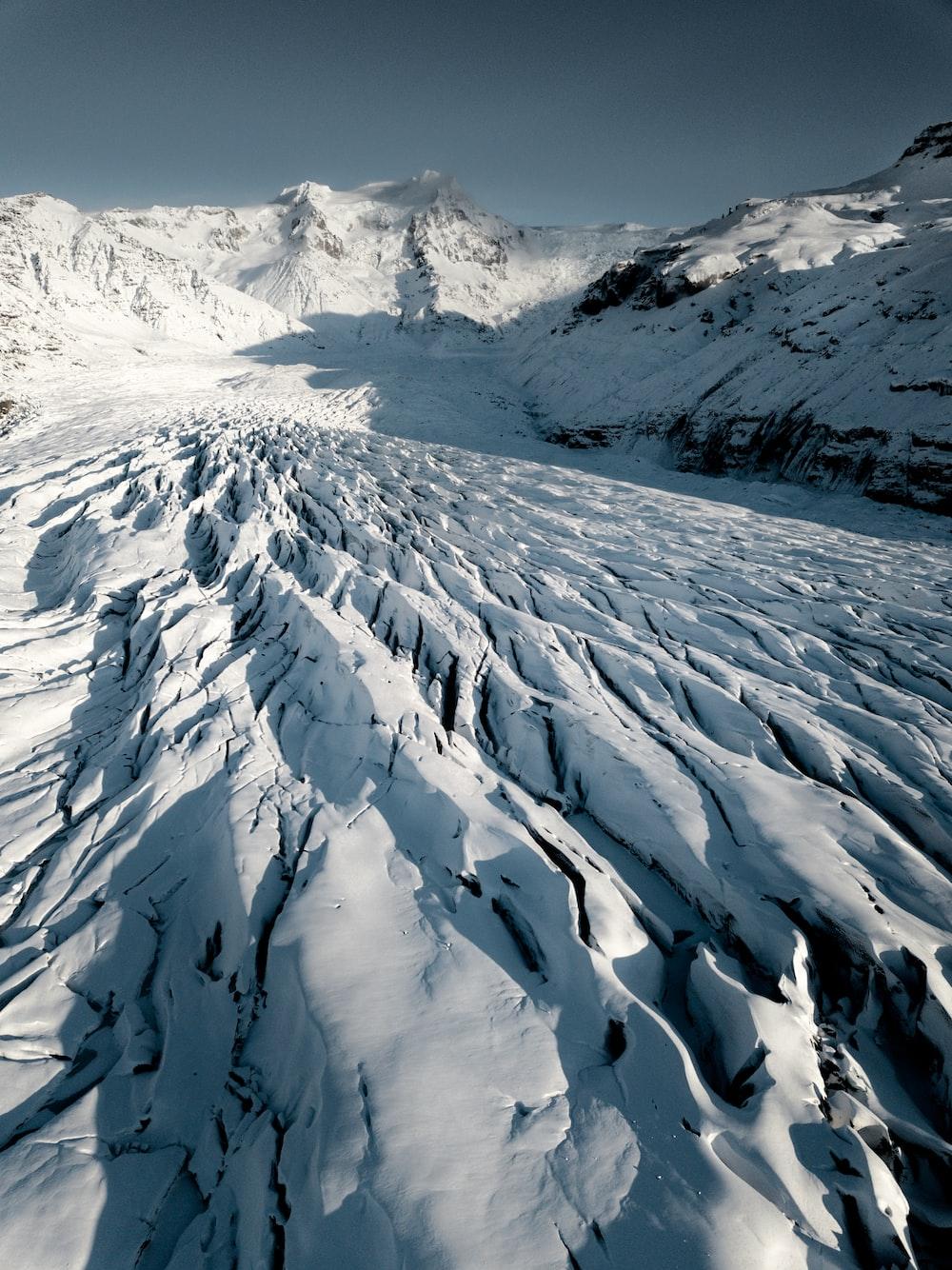 aerial photo of snow mountain
