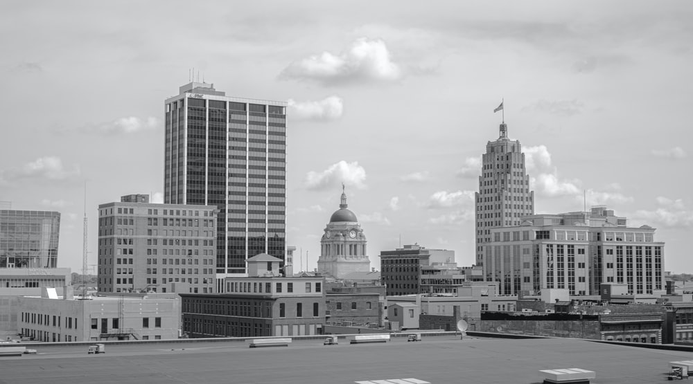 grayscale photo of buildings during daytime