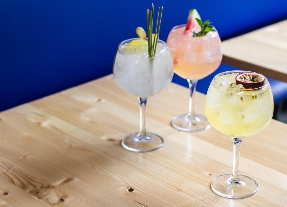 beverage on drinking glass