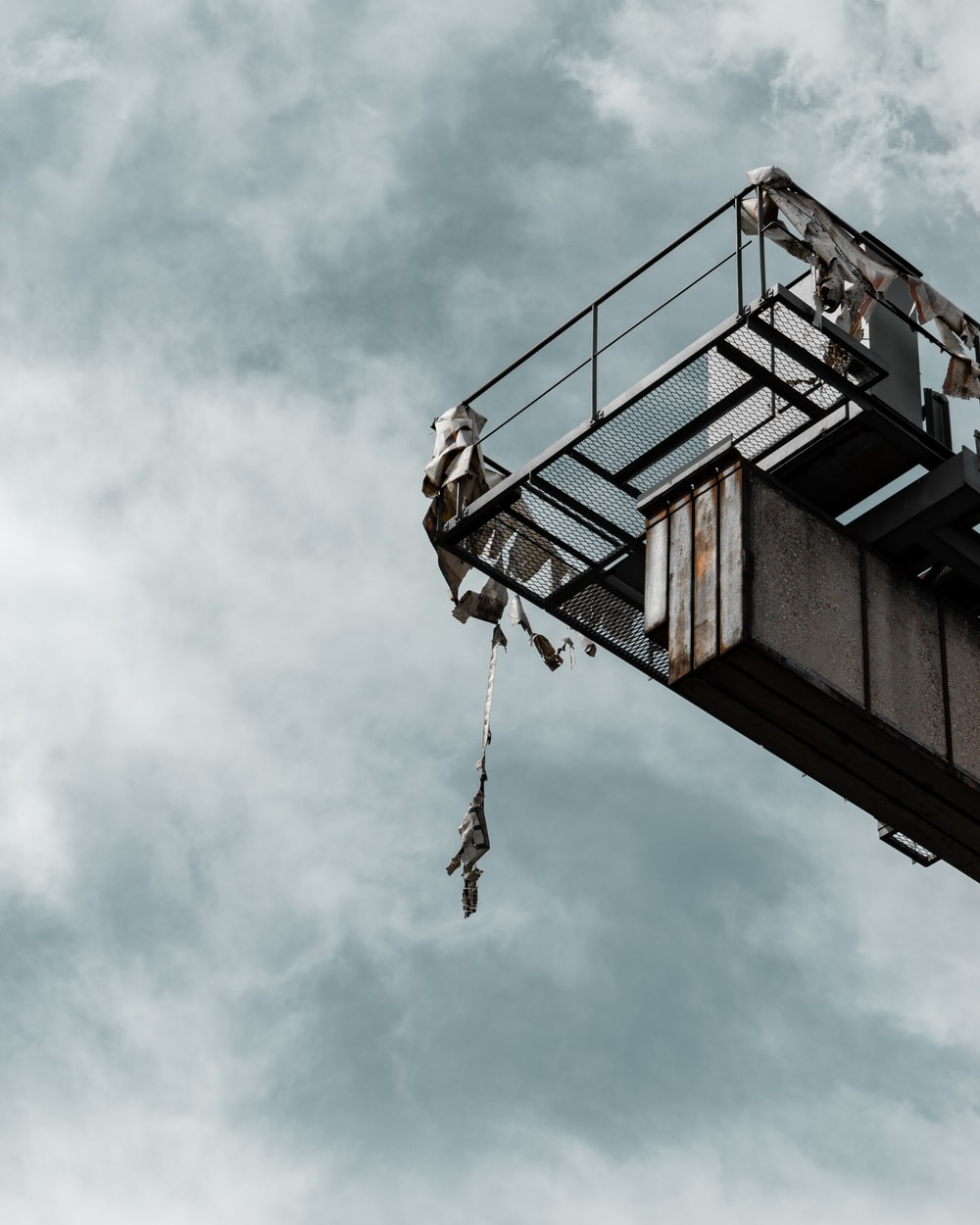 high platform under cloudy sky