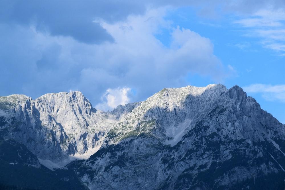 white snow capped mountain peak