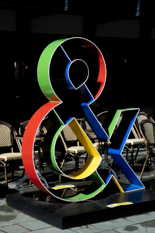 multicolored ampersand decor