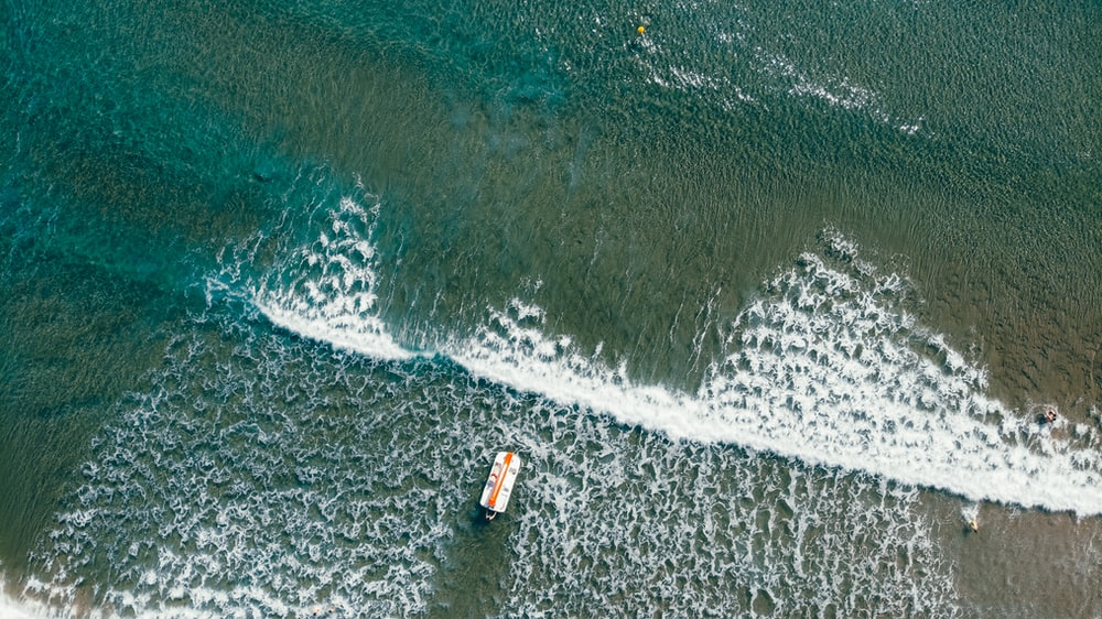 boat on water in aerial photo