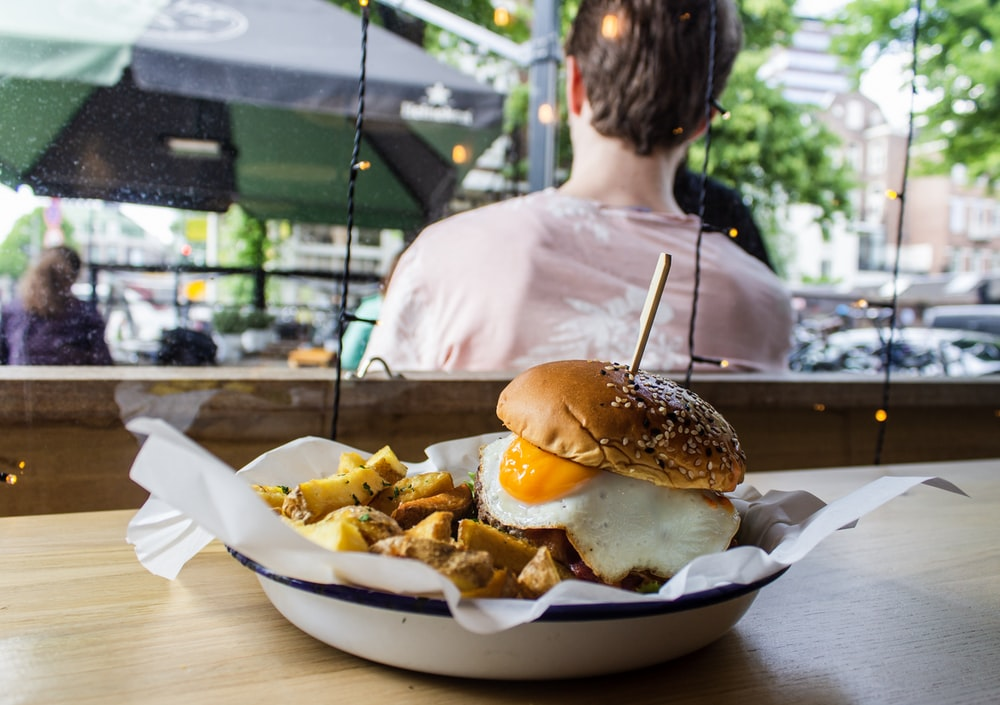 burger with sunny side up egg
