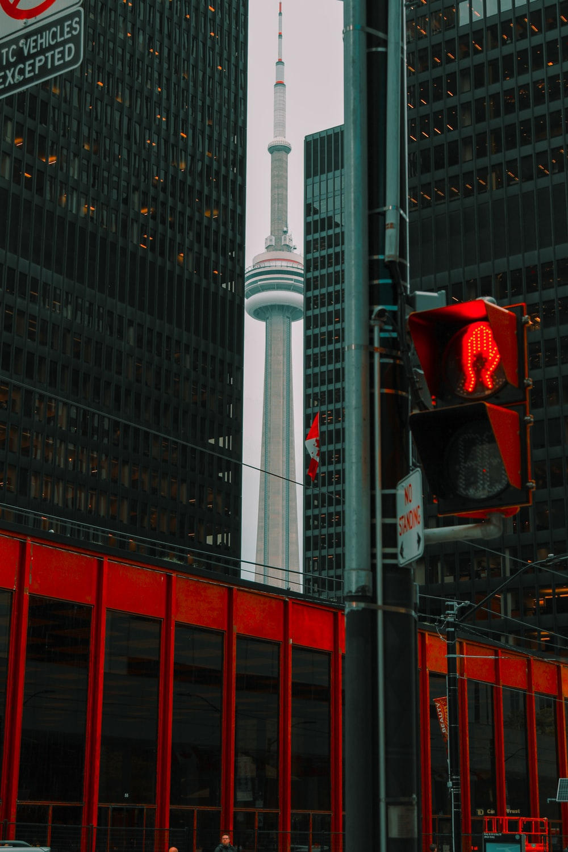 CN Tower through high-rise buildings