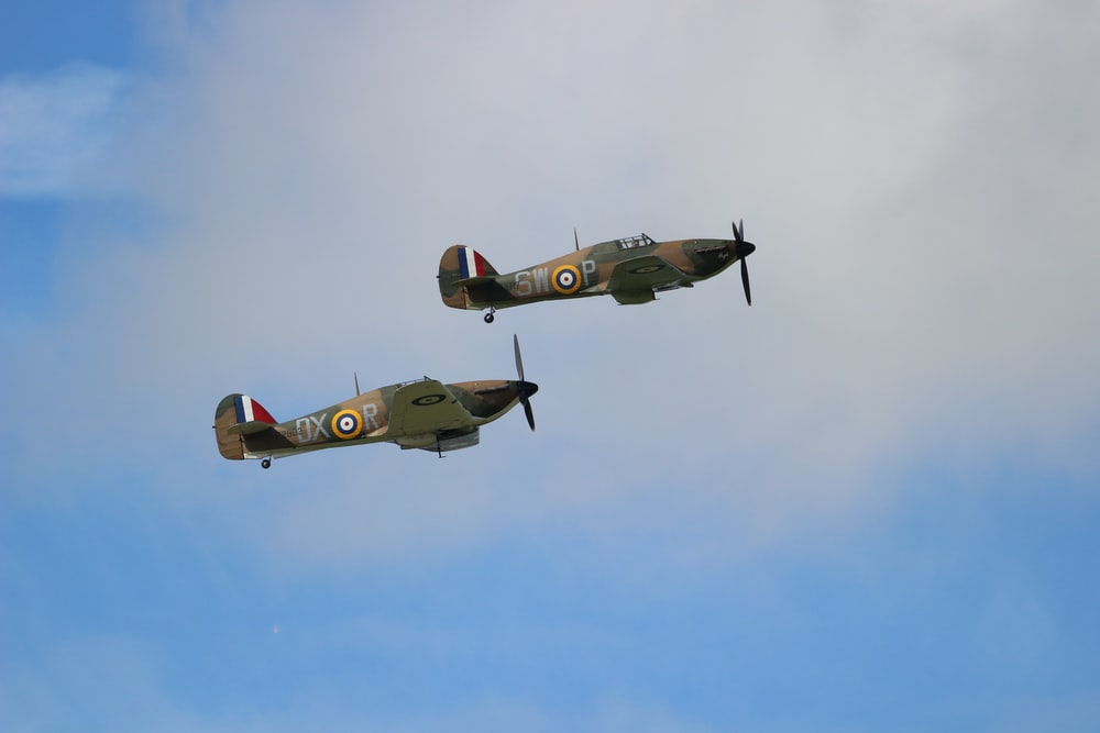 two biplanes in sky