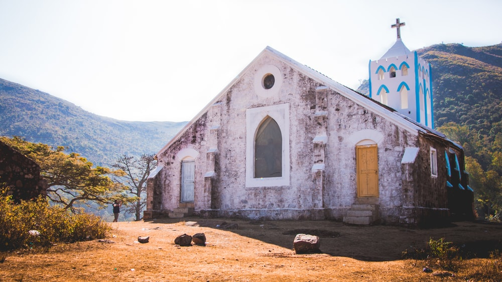 white and blue church building