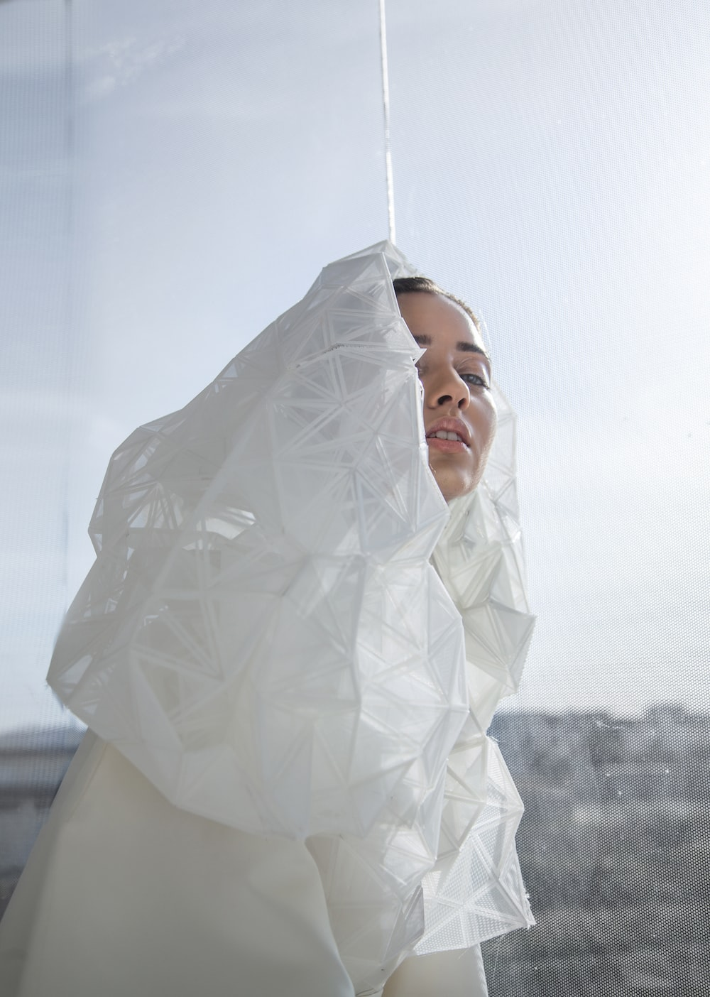 woman with white veil