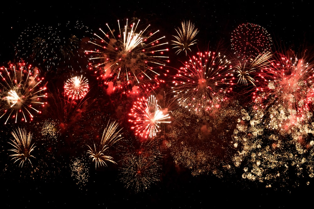 yellow and red fireworks