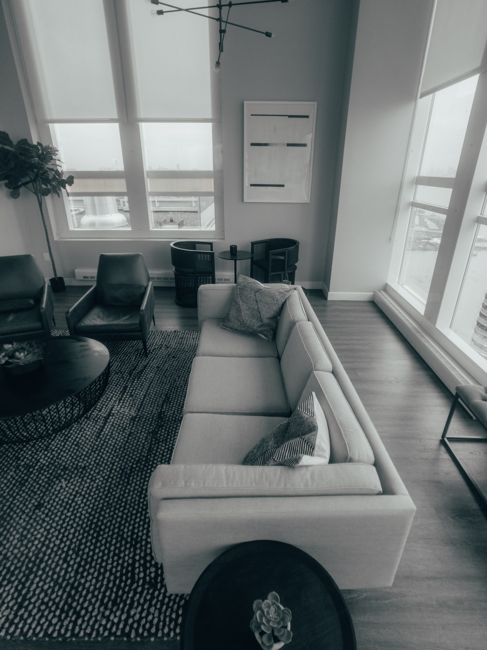 grayscale photo of empty living room