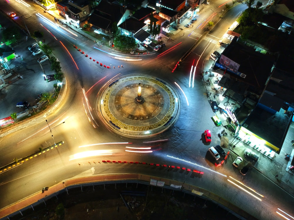 aerial photo of city intersection