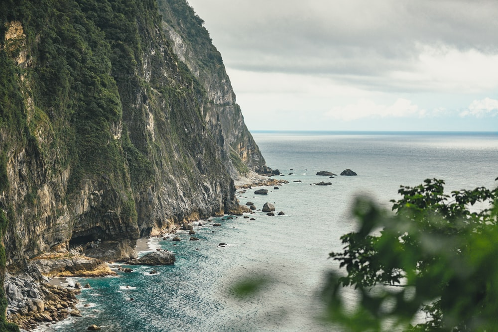 landscape photo of a cliff and a beach