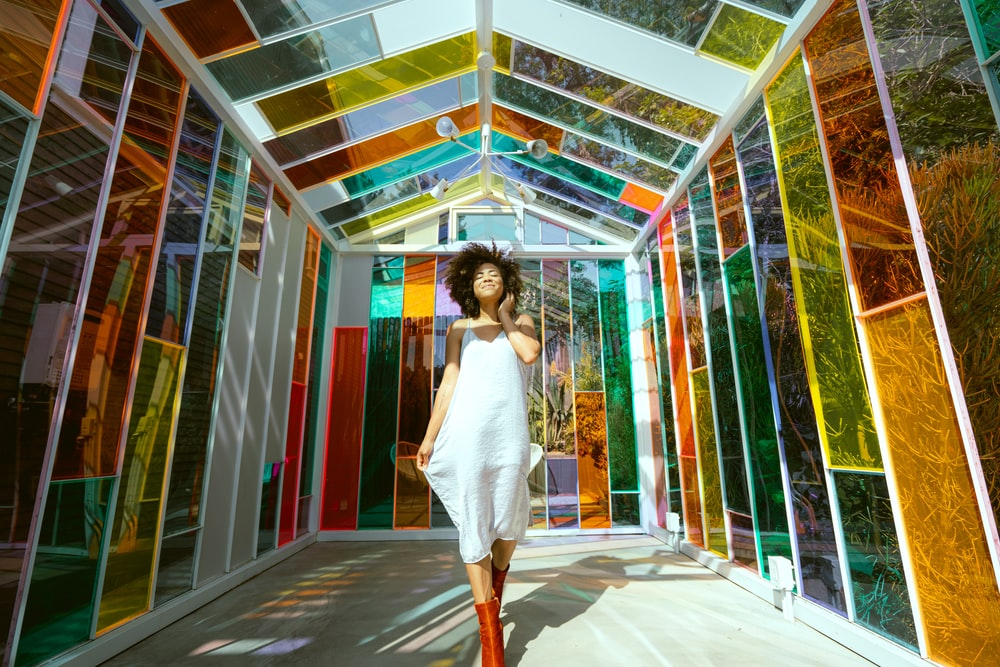 woman standing inside the structure