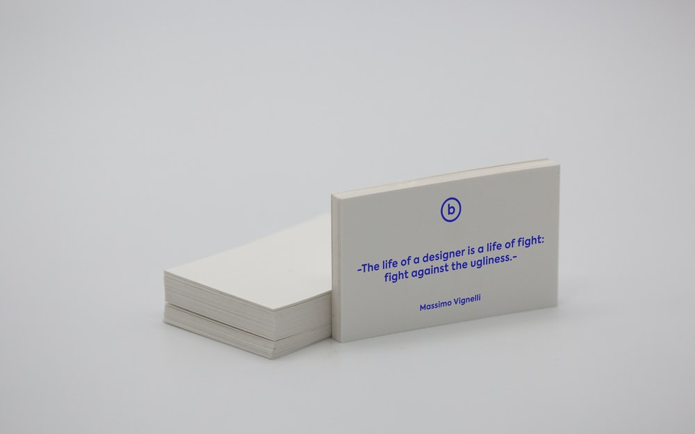 blue text on white paper