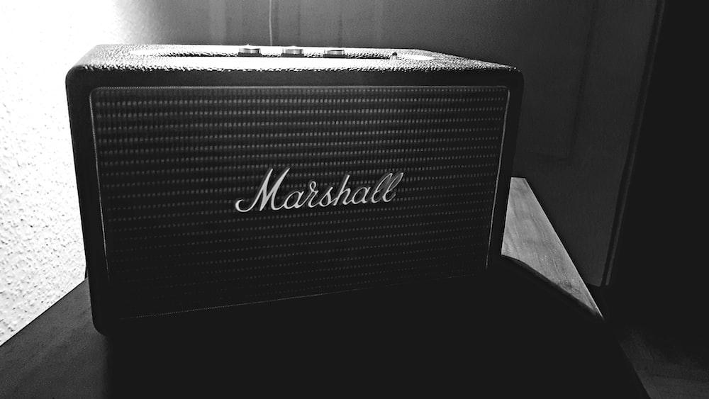 black Marshall guitar amplifier speaker