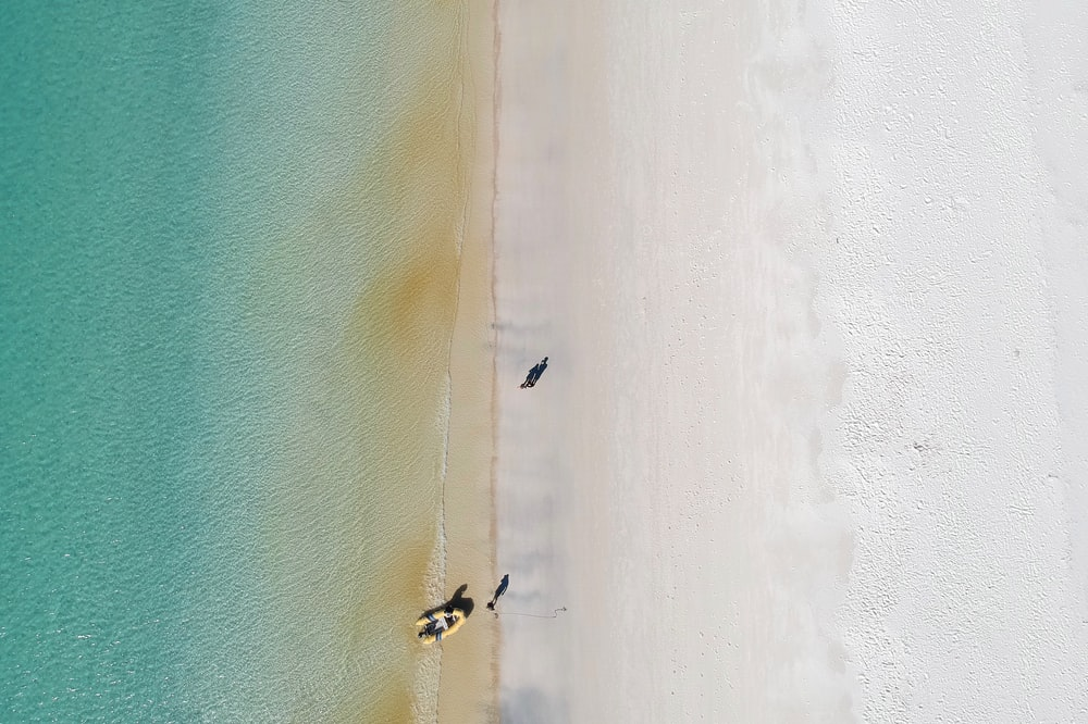 aerial photography of person riding boat beside seashore