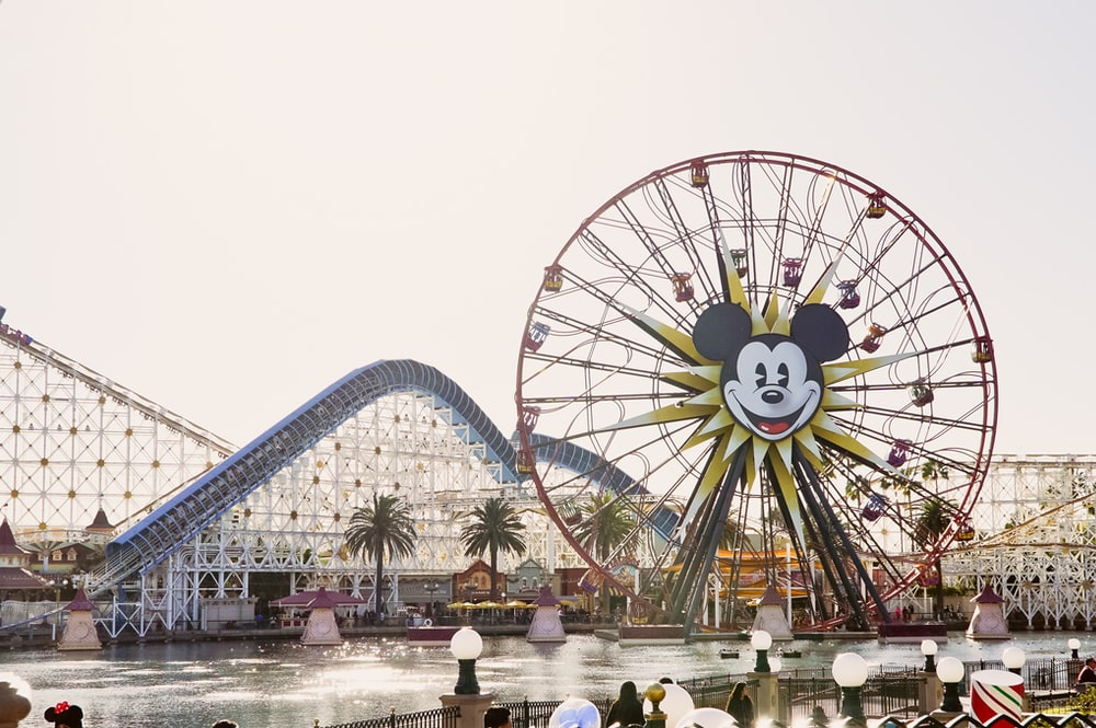 Mickey Mouse Ferris wheel across river