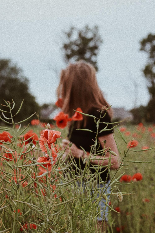 woman near red flowers