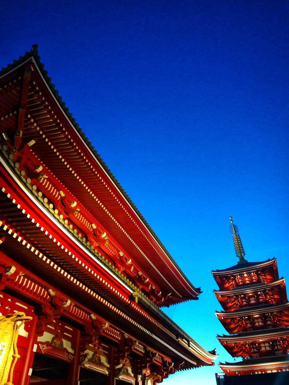 architectural photo of a temple in Asakusa at dusk