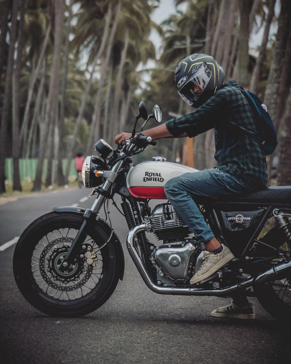 man on Royal Enfield motorcycle
