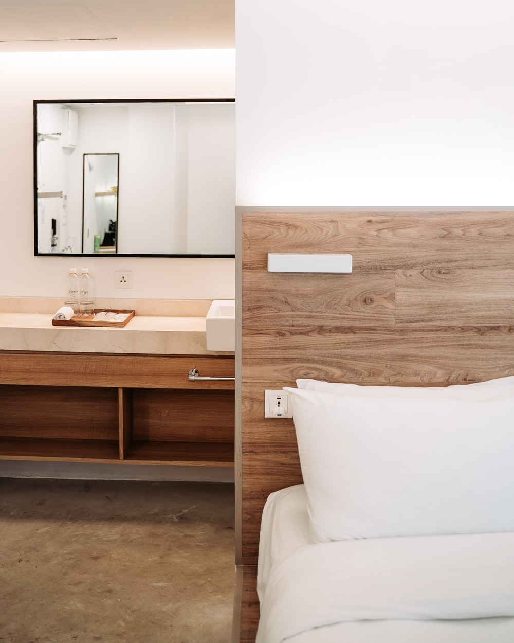 brown wooden headboard and sink collage